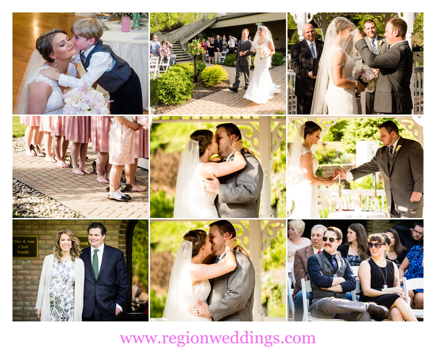An outdoor wedding ceremony at Trinity Hall in Chesterton, Indiana.