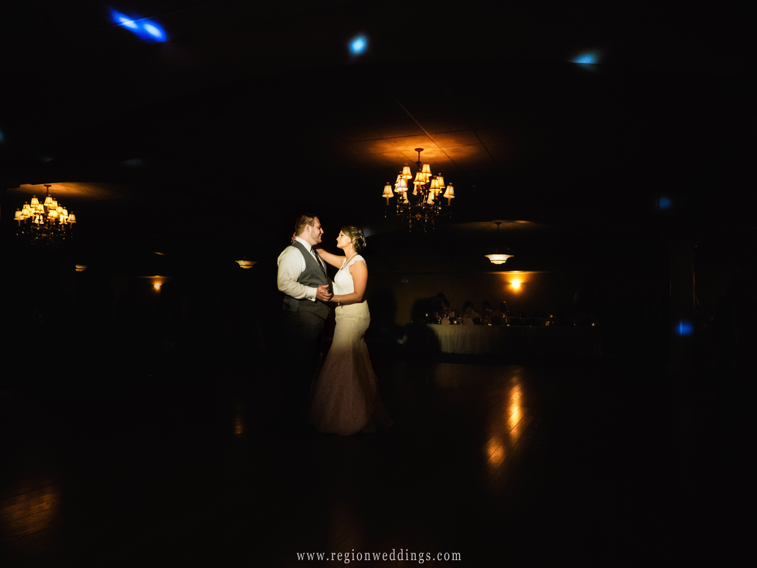 First dance for the bride and groom at Trinity Banquet Room at St. Patrick's Parish.