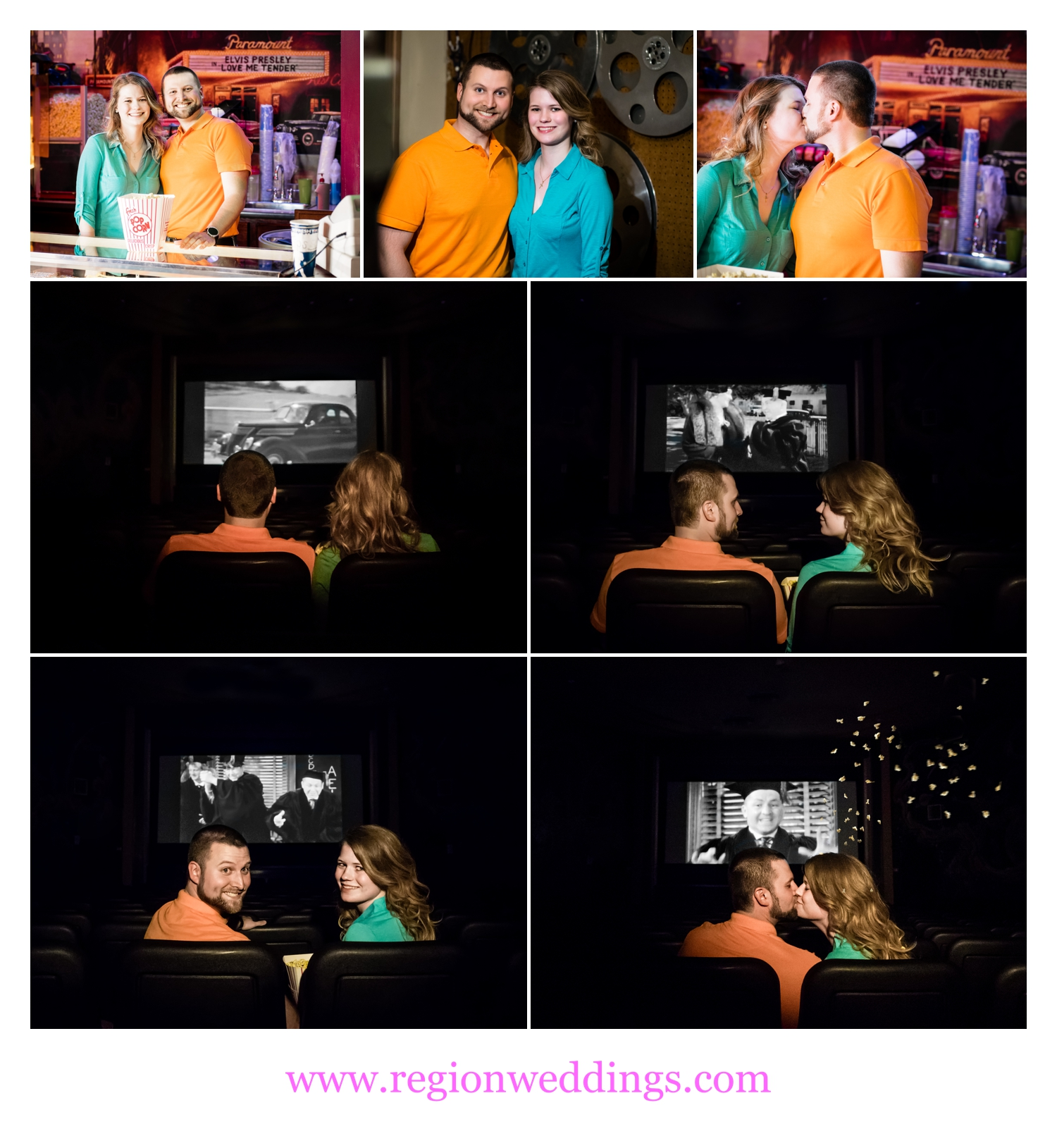 A movie themed engagement session photo collage.