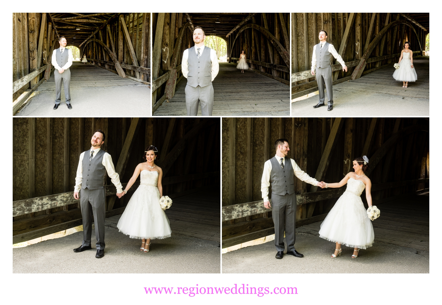 First look for the bride and groom on the covered bridge t Lake County Fairgrounds.