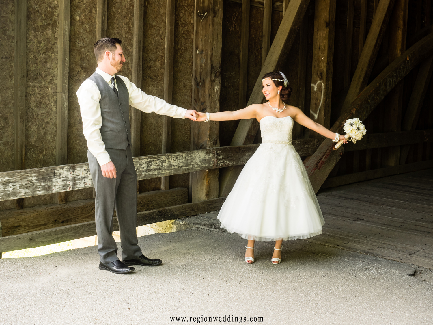 A playful dance between bride and groom after their first look.