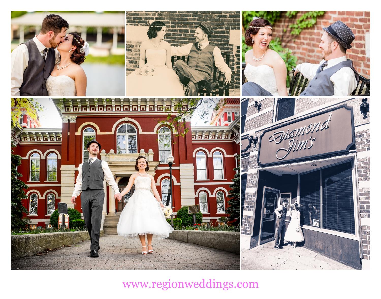 Wedding photos around the downtown Crown Point Square.