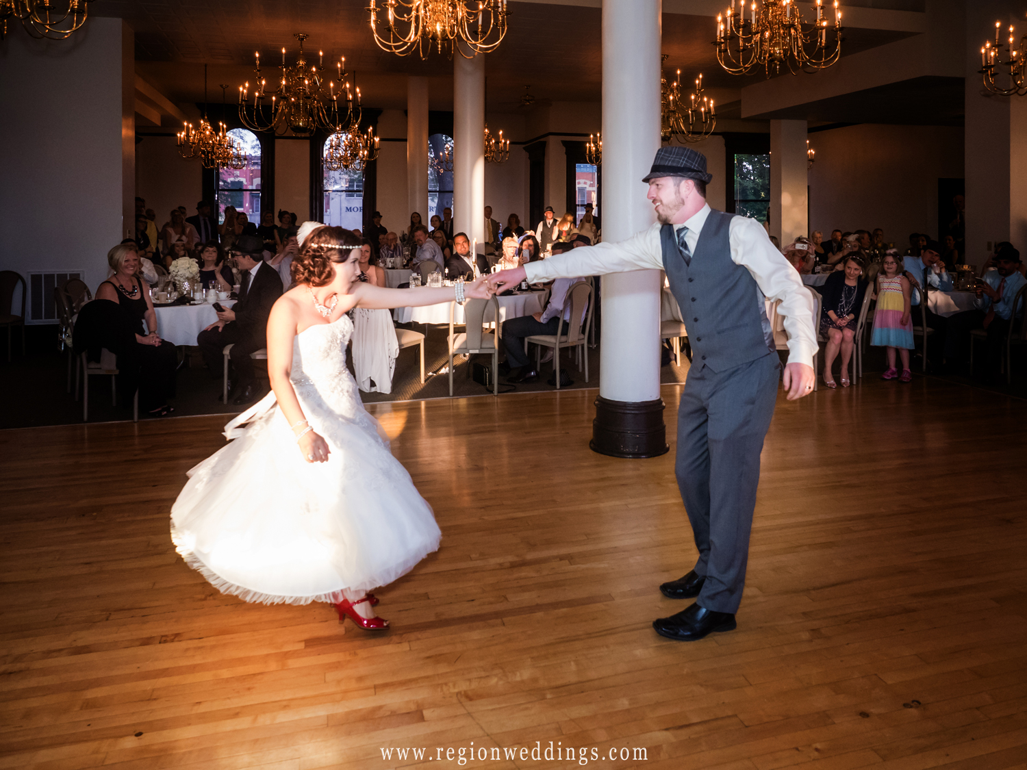 First dance at a 1920's themed wedding.