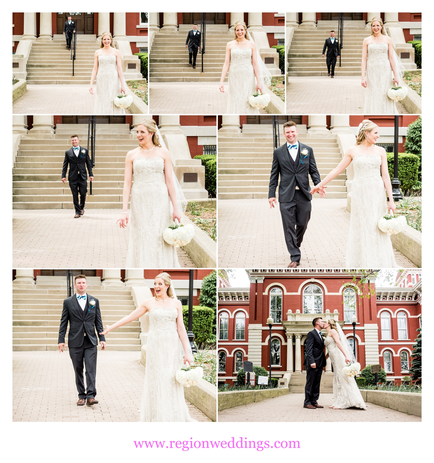 First look for the bride and groom on the Crown Point Square.