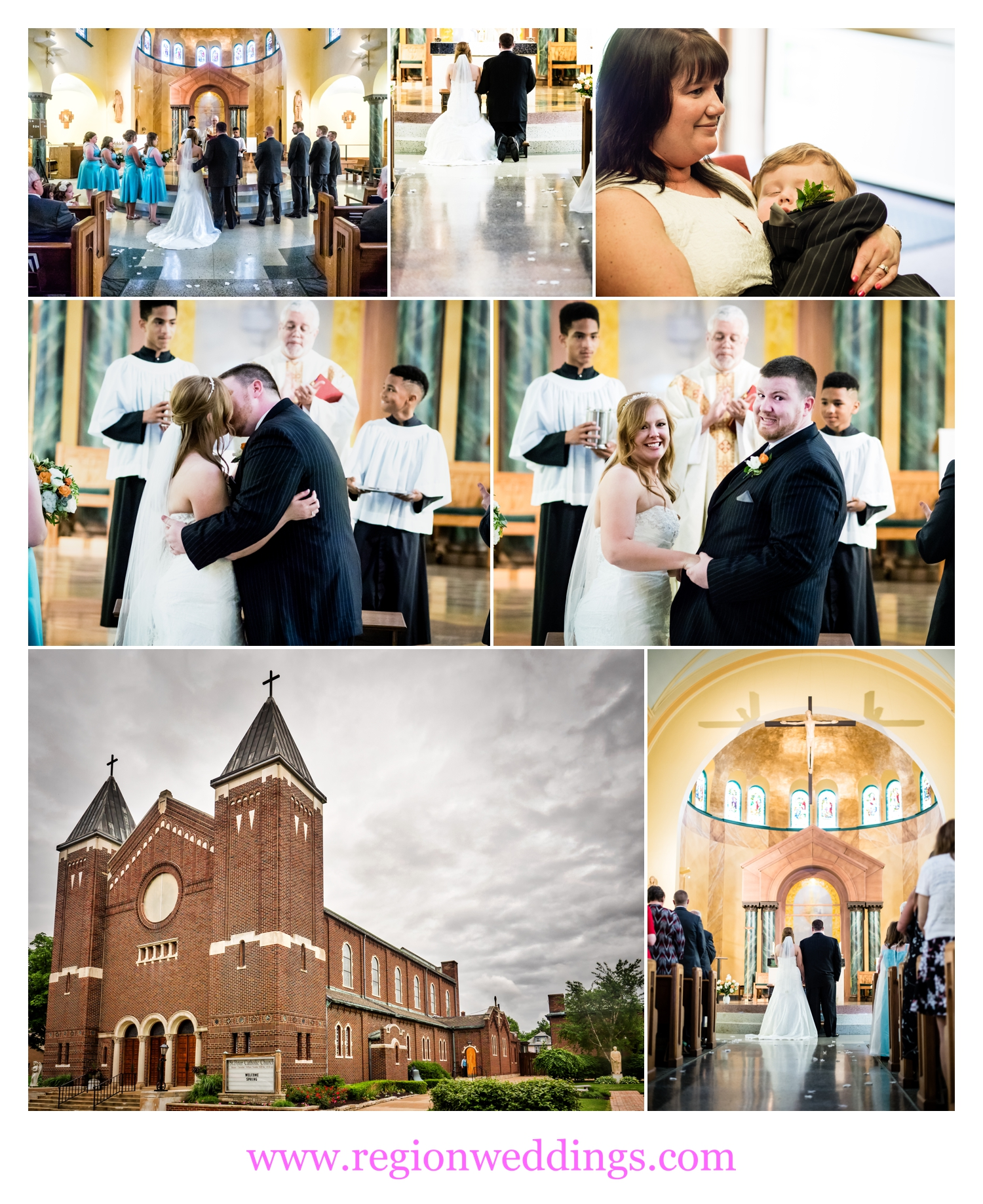 Wedding ceremony photo collage of St. Peter's Parish.
