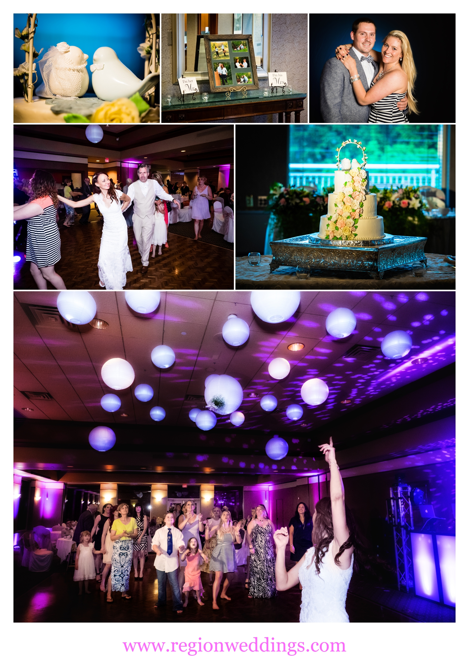 Wedding reception photo collage from Sand Creek Country Club.