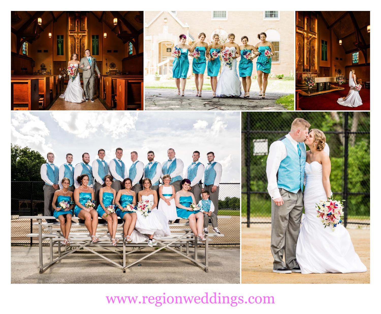 Fun photos from a sports themed summer wedding.