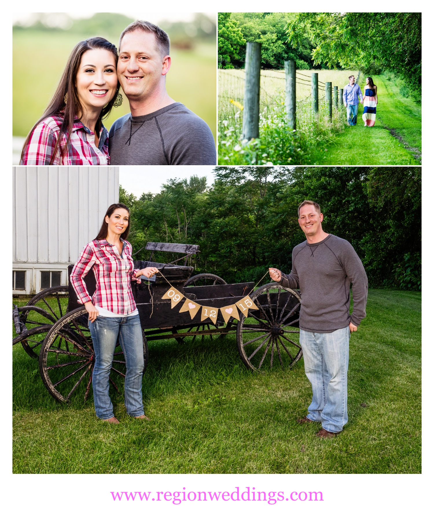 Engagement photos at Buckley Homestead in Lowell, Indiana.