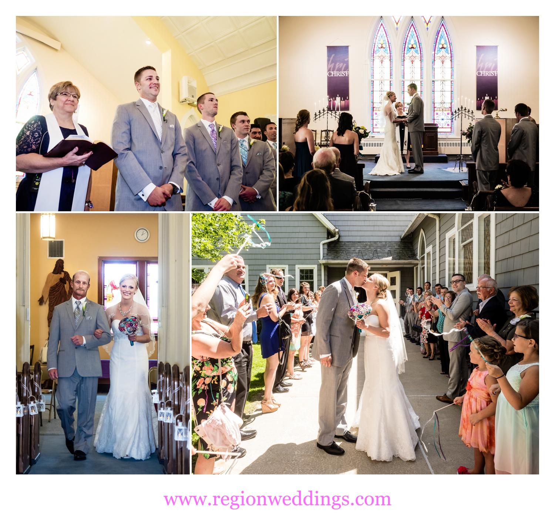 Wedding ceremony at United Methodist Church.