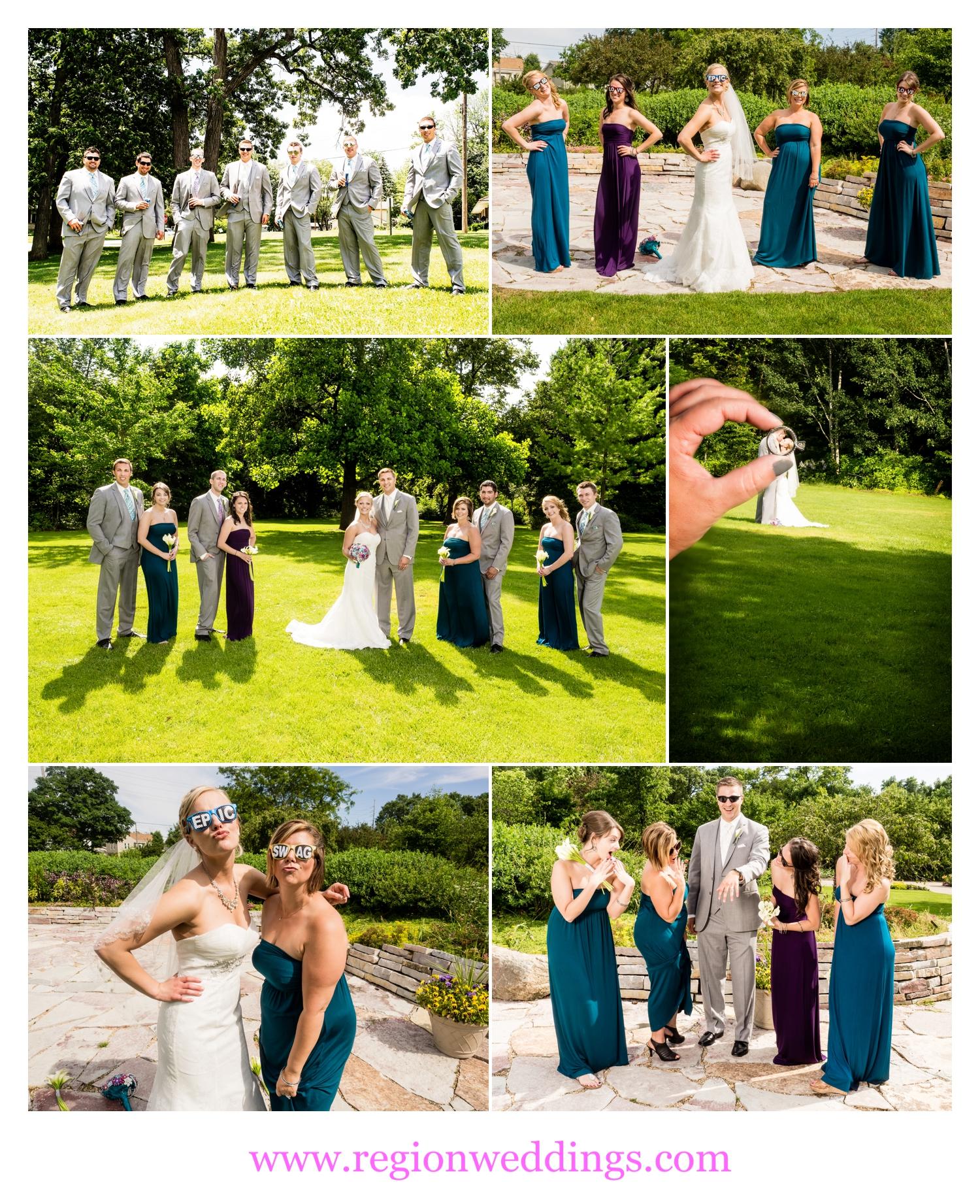 Fun wedding photos at Ogden Garden in Valparaiso, Indiana.