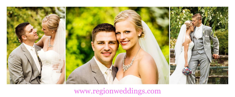 Romantic wedding photos at Ogden Garden in Valparaiso, Indiana.