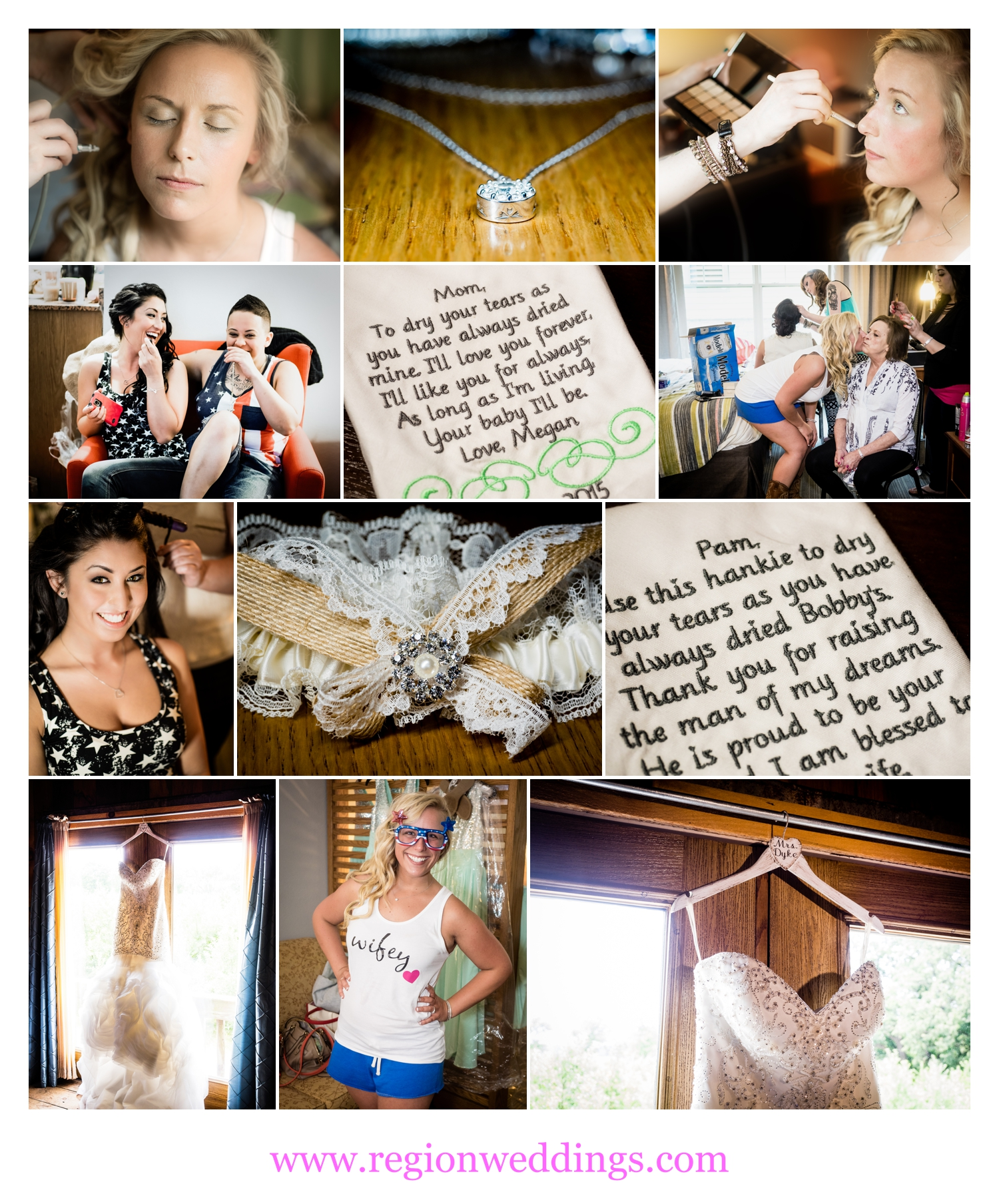 Bride and bridesmaids get ready on wedding day at County Line Orchard.