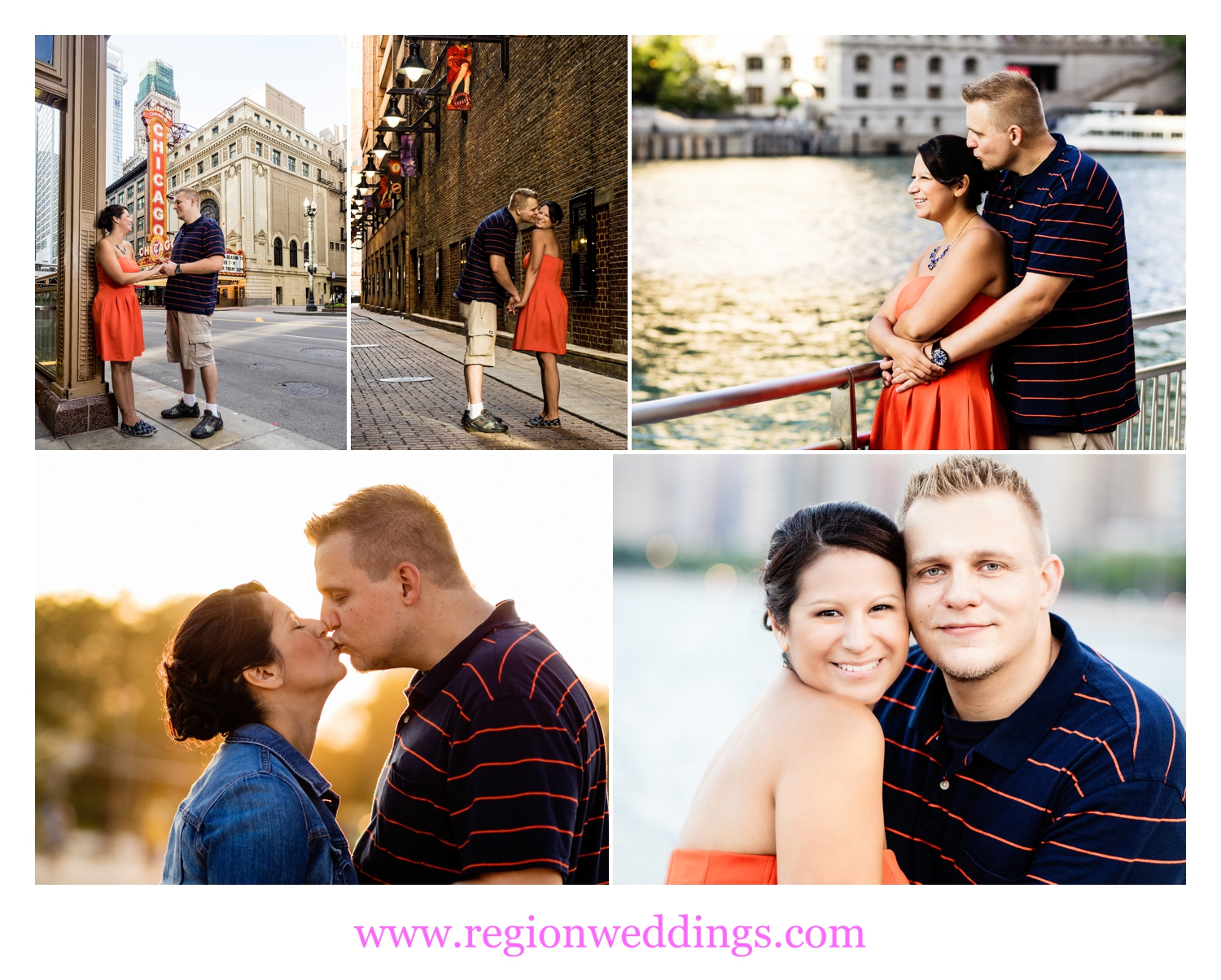 Chicago engagement photos on State Street and North Avenue Beach.