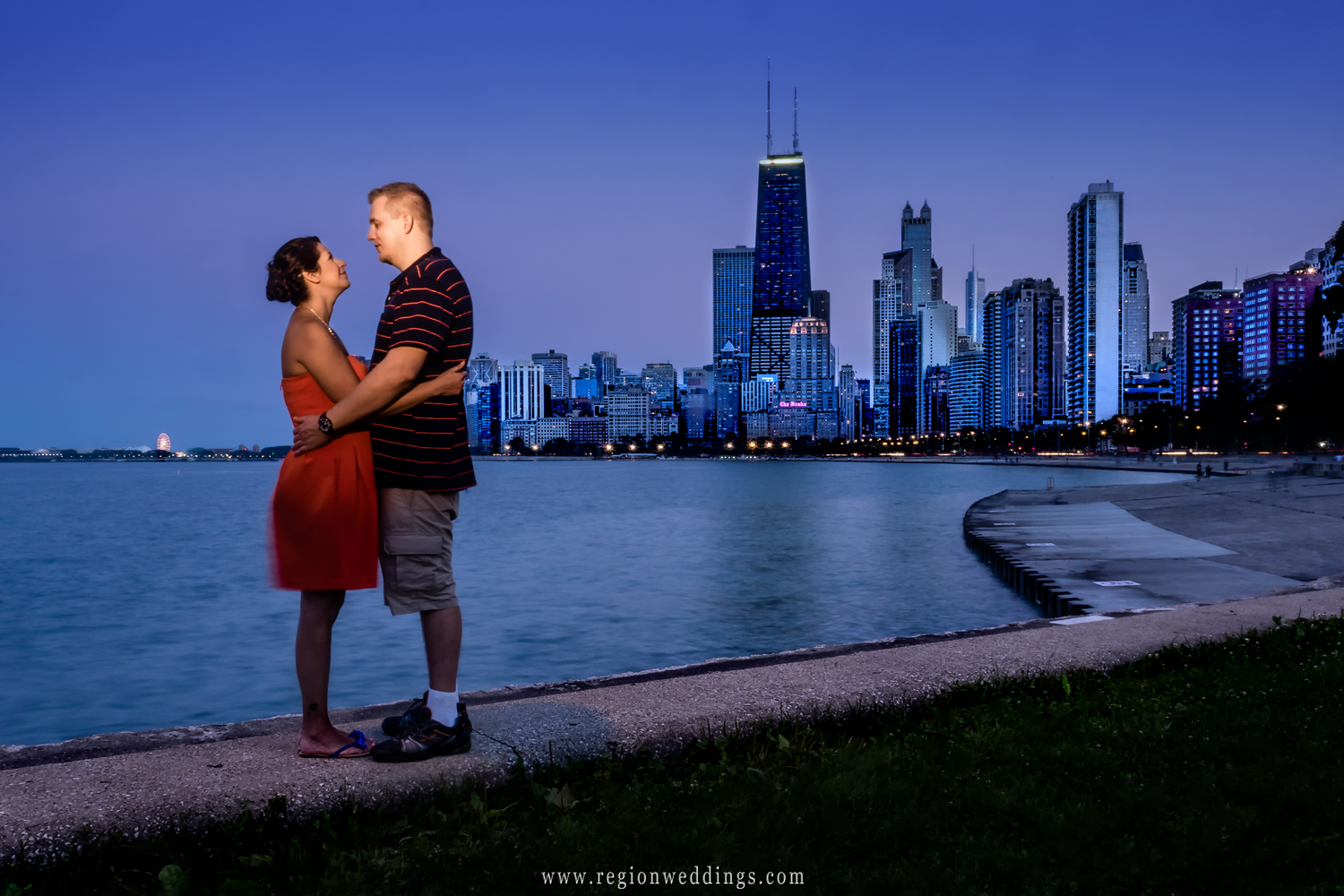 The city of Chicago at night as seen from the beach.
