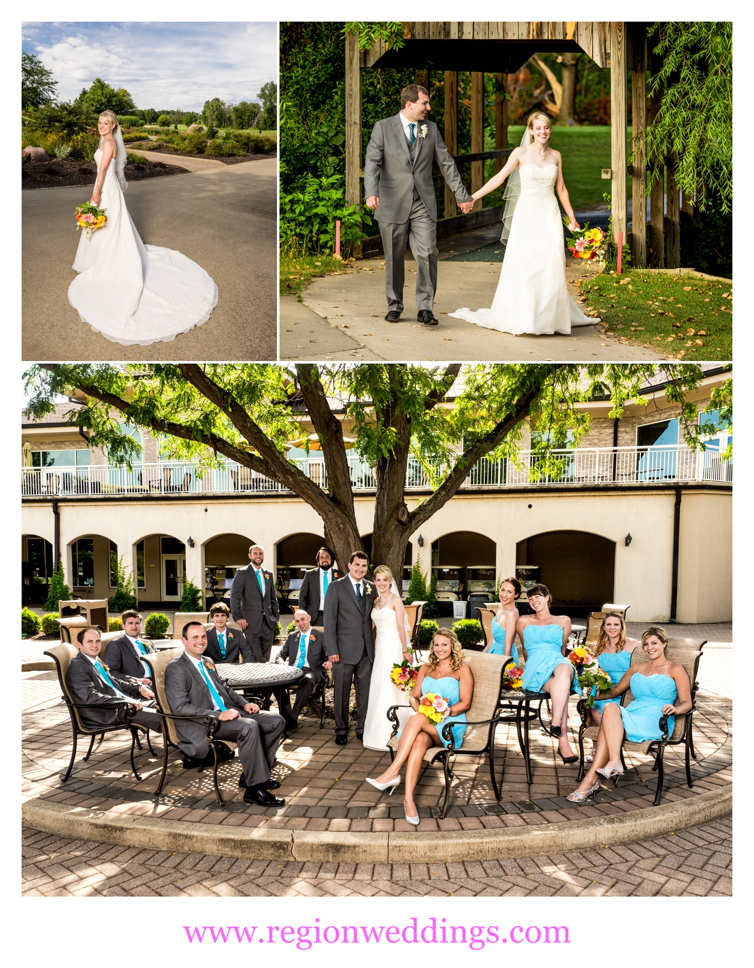 Wedding party photos at Sand Creek Country Club.