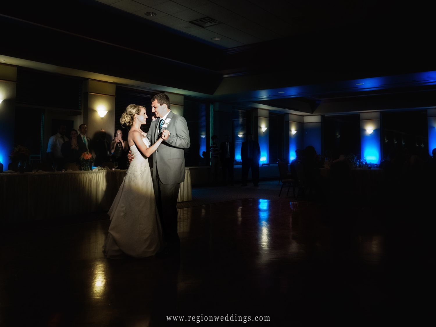 First dance at Sand Creek Country Club for the bride and groom.