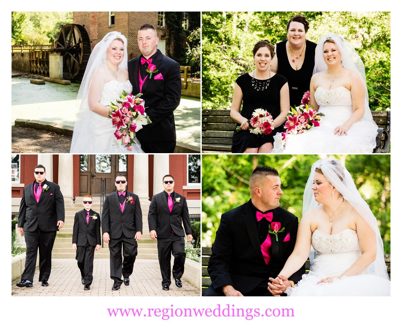 Wedding party photos at Deep River County Park.