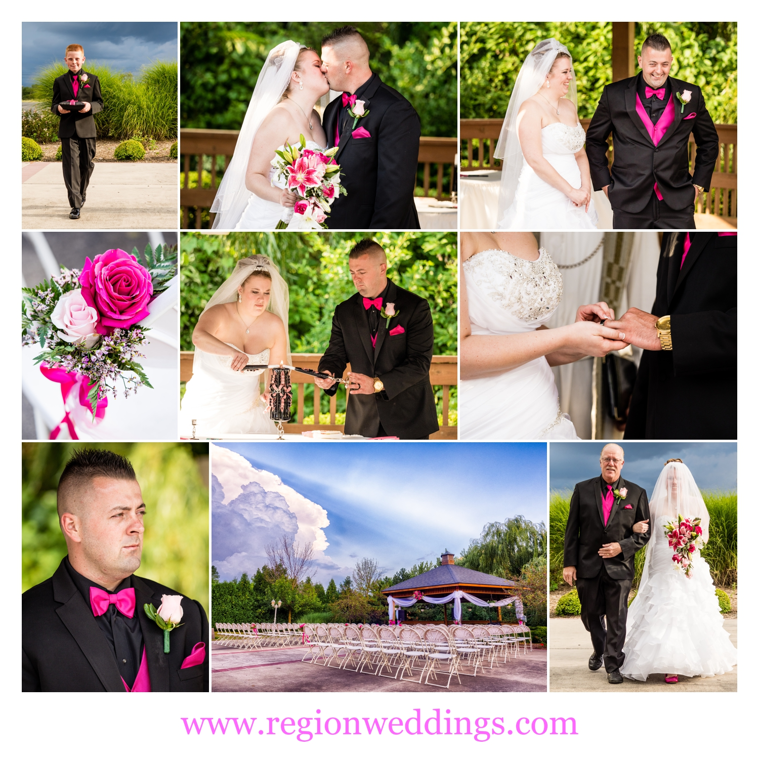 An outdoor wedding ceremony at Avalon Manor in Merrillville, IN.