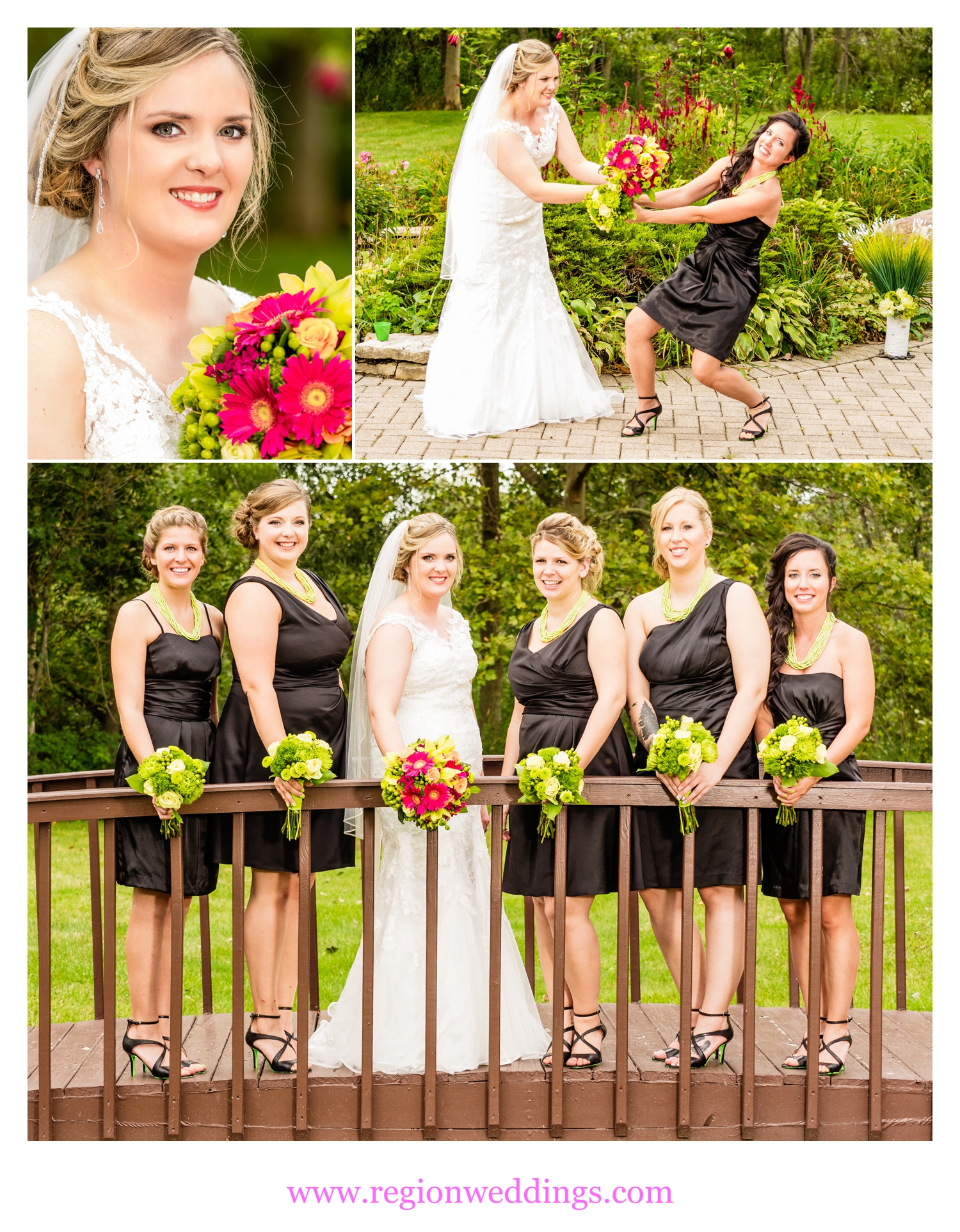 The bridesmaids show off their wedding flowers.