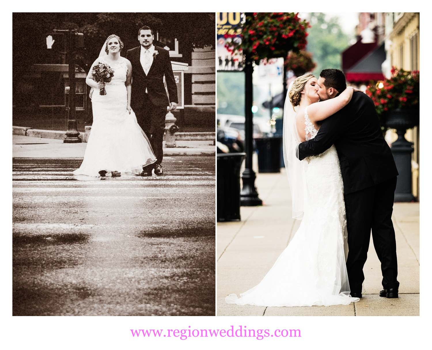 The bride and groom take to the streets of the downtown Crown Point Square.
