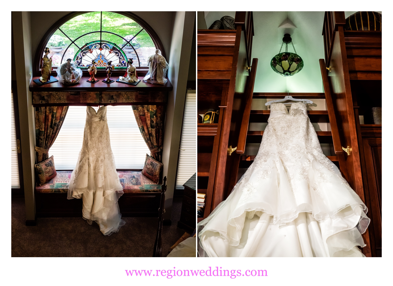 The wedding dress awaits the bride.