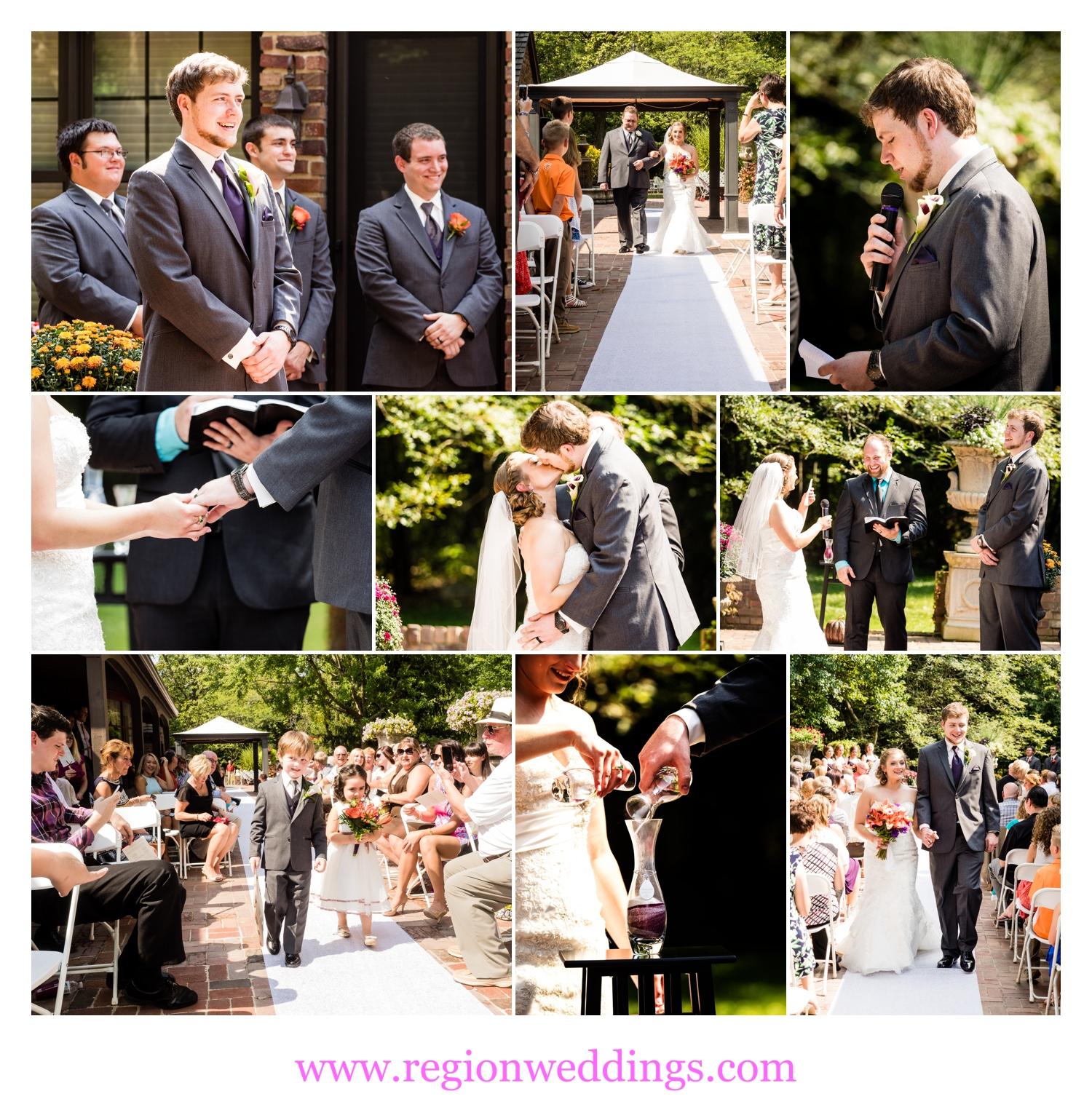Outdoor wedding ceremony in Cedar Lake, Indiana.