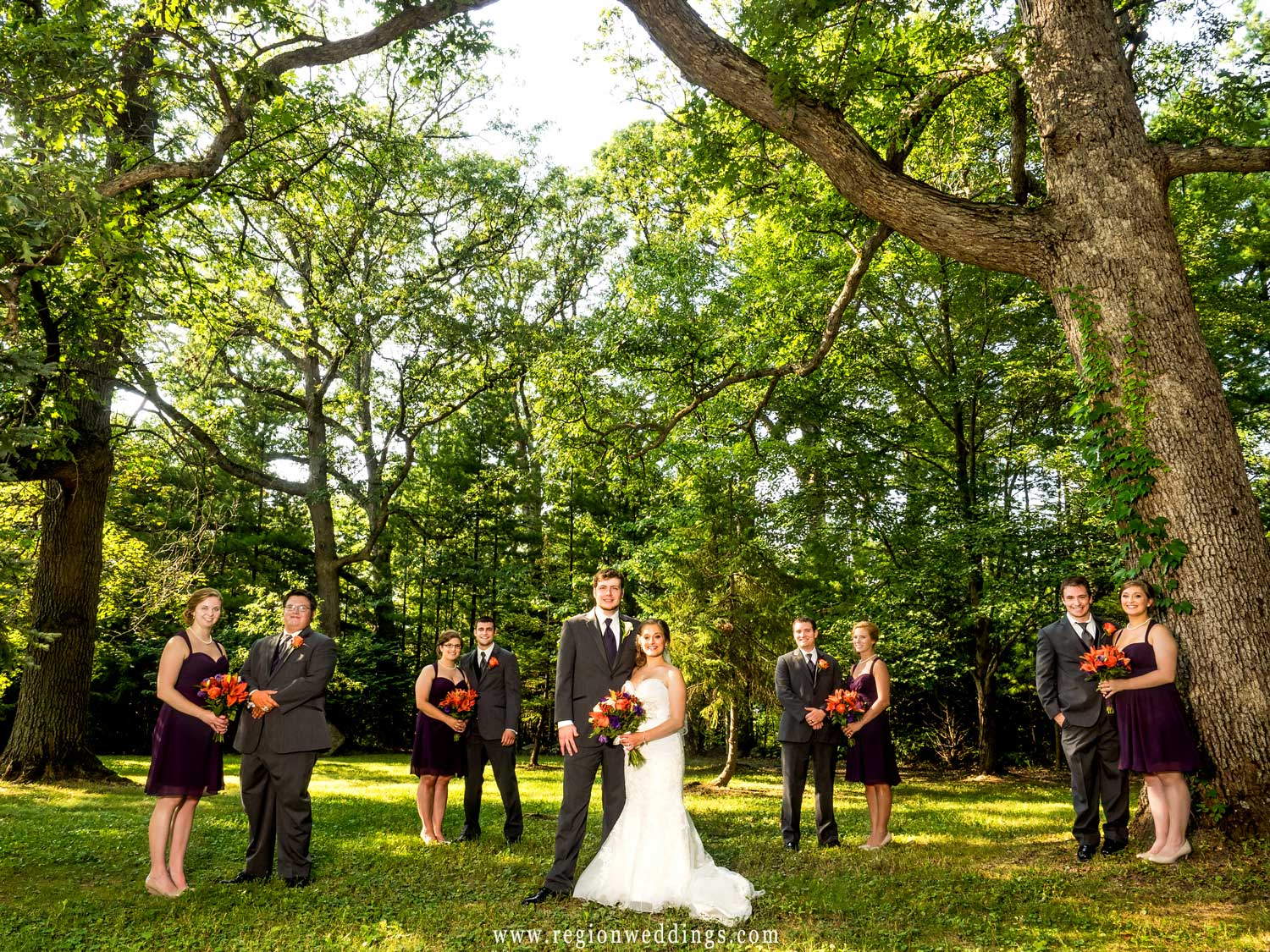 The wedding party in the woods of Cedar Lake.
