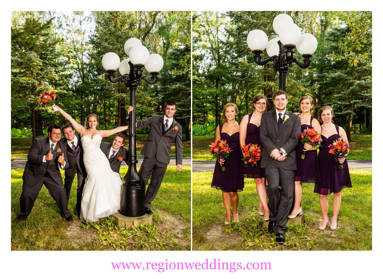 The groomsmen and bridesmaids having fun.