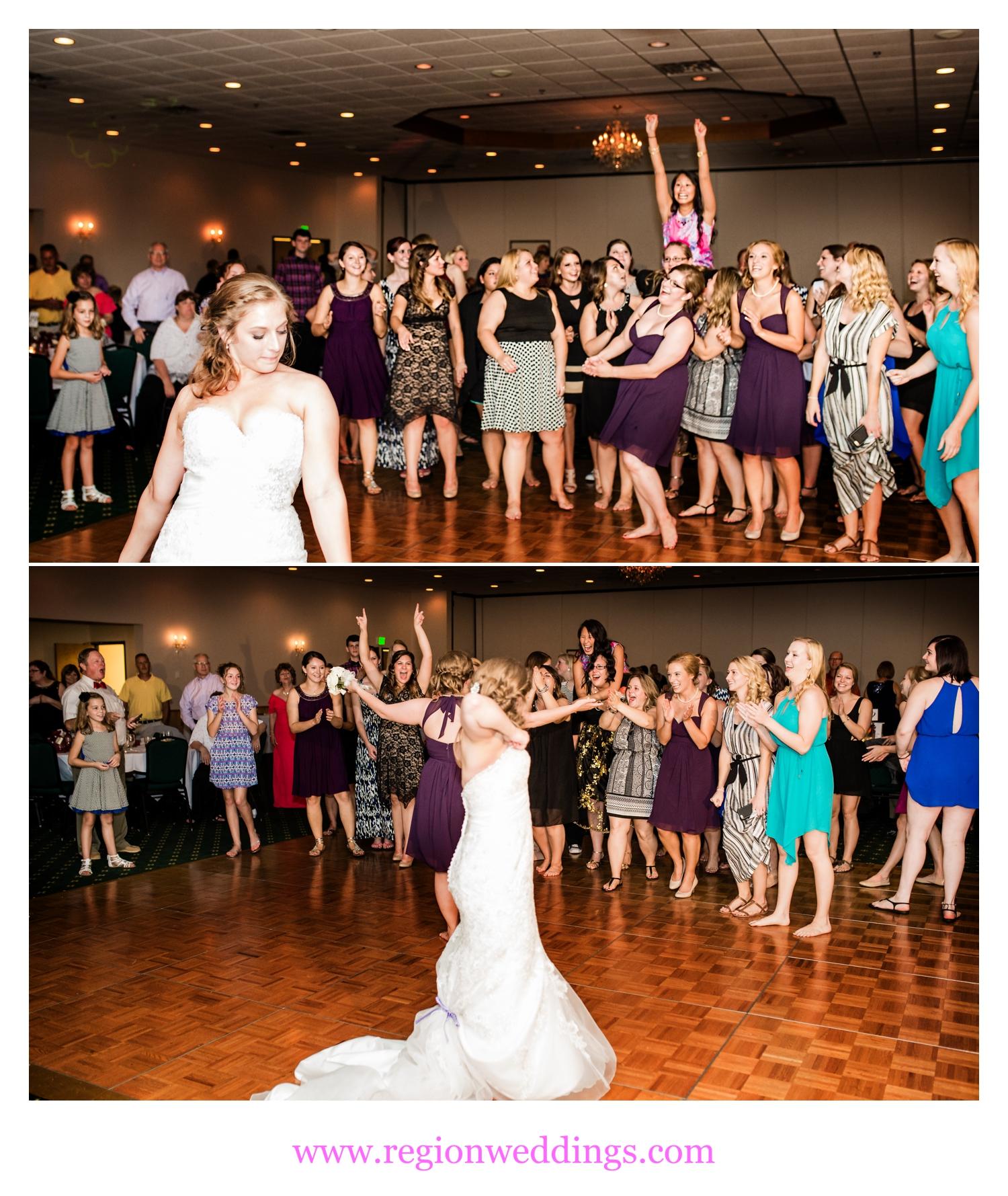 Bouquet toss at The Patrician Banquet Center.
