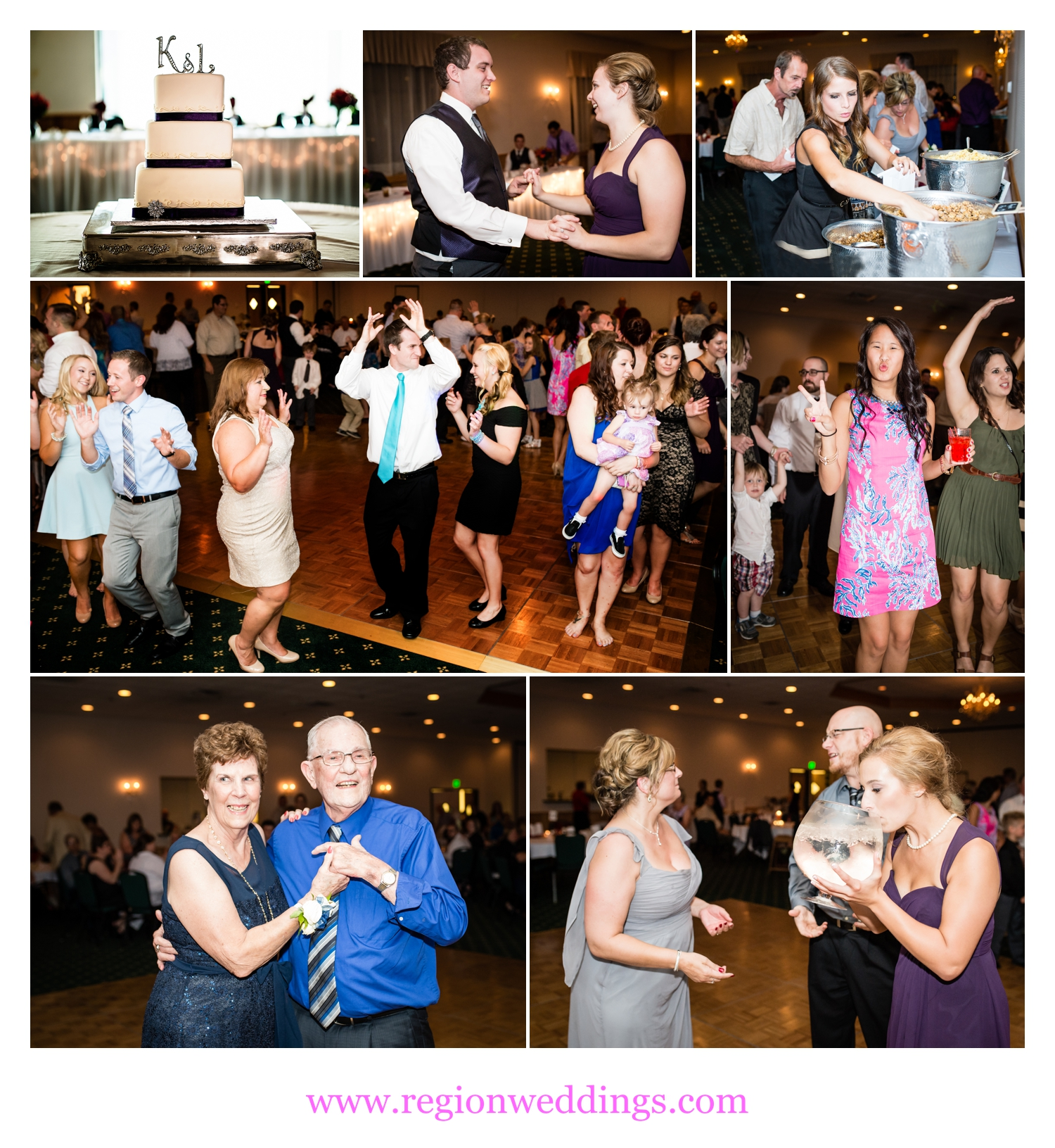 Fun times at a wedding reception at The Patrician in Schererville, Indiana.