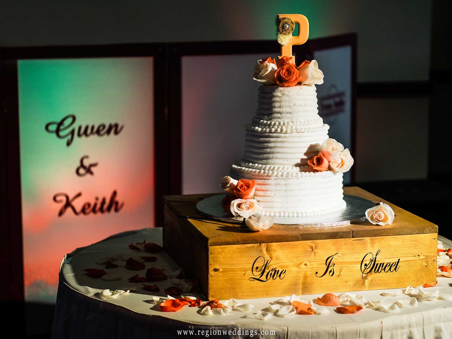 Wedding cake at Signature Banquets in Lowell, Indiana.