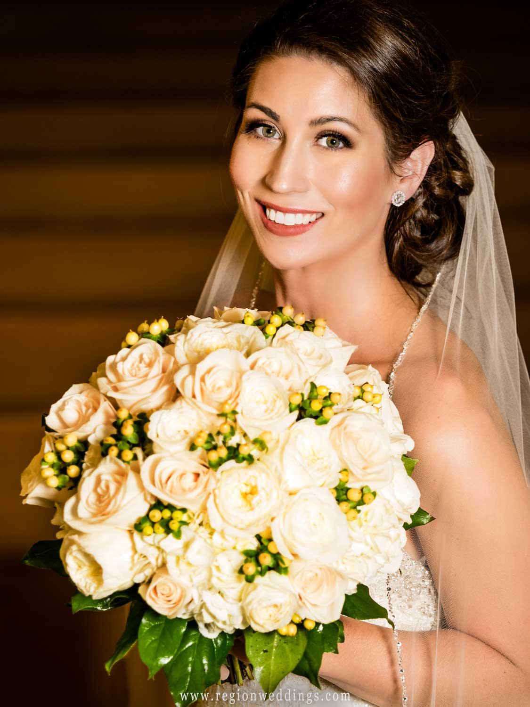 Portrait of the bride inside Lowell United Methodist Church.