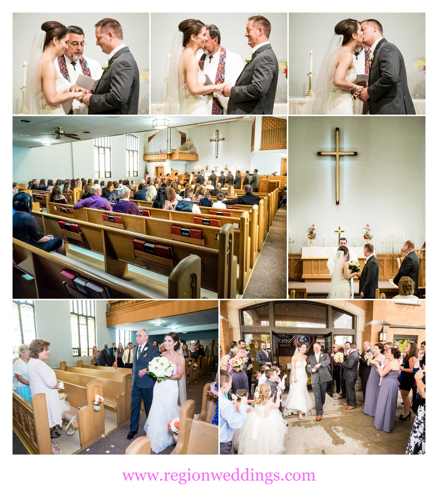 Wedding ceremony at Lowell United Methodist Church.