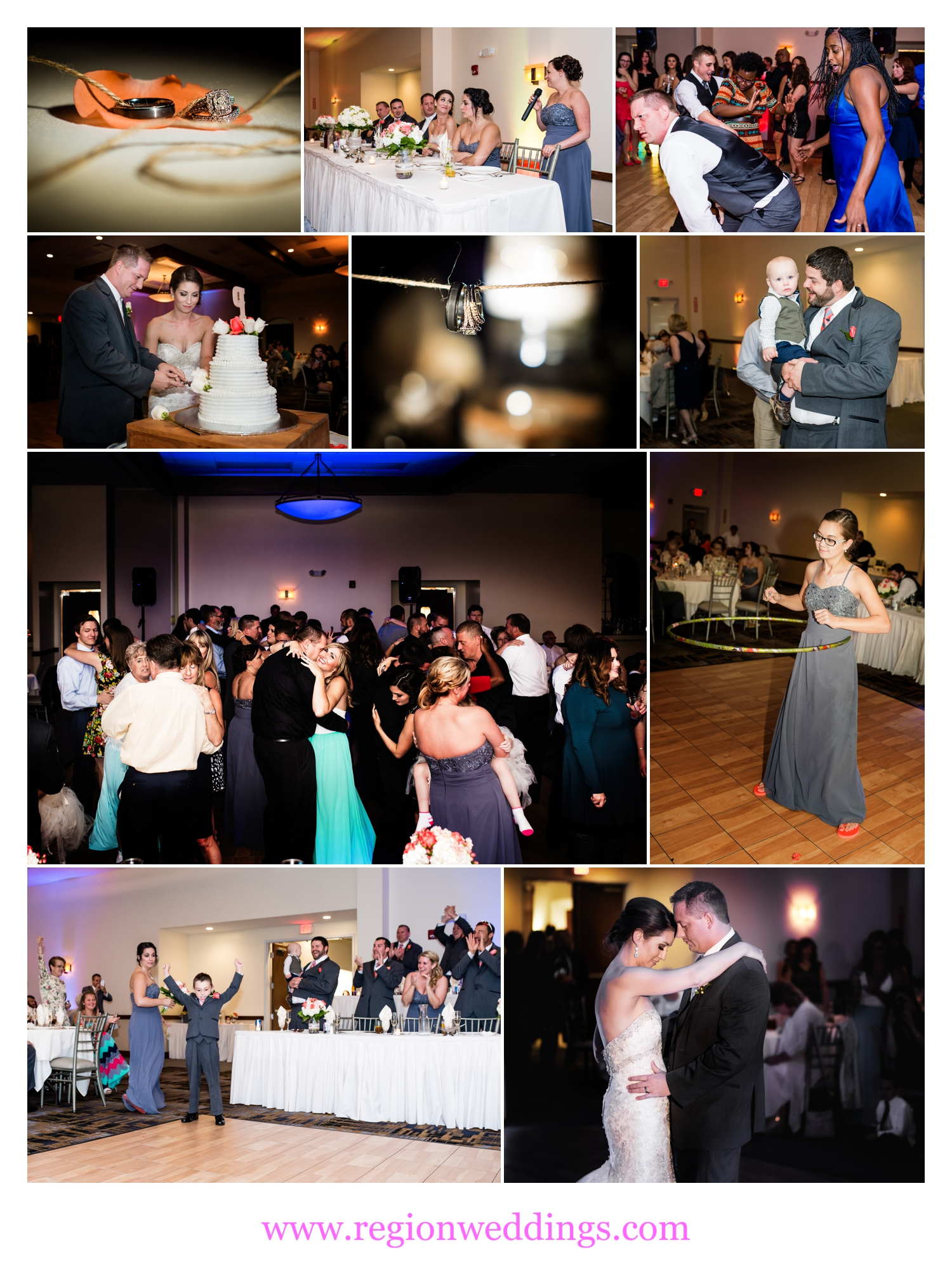 Wedding reception at Signature Banquets in Lowell, Indiana.