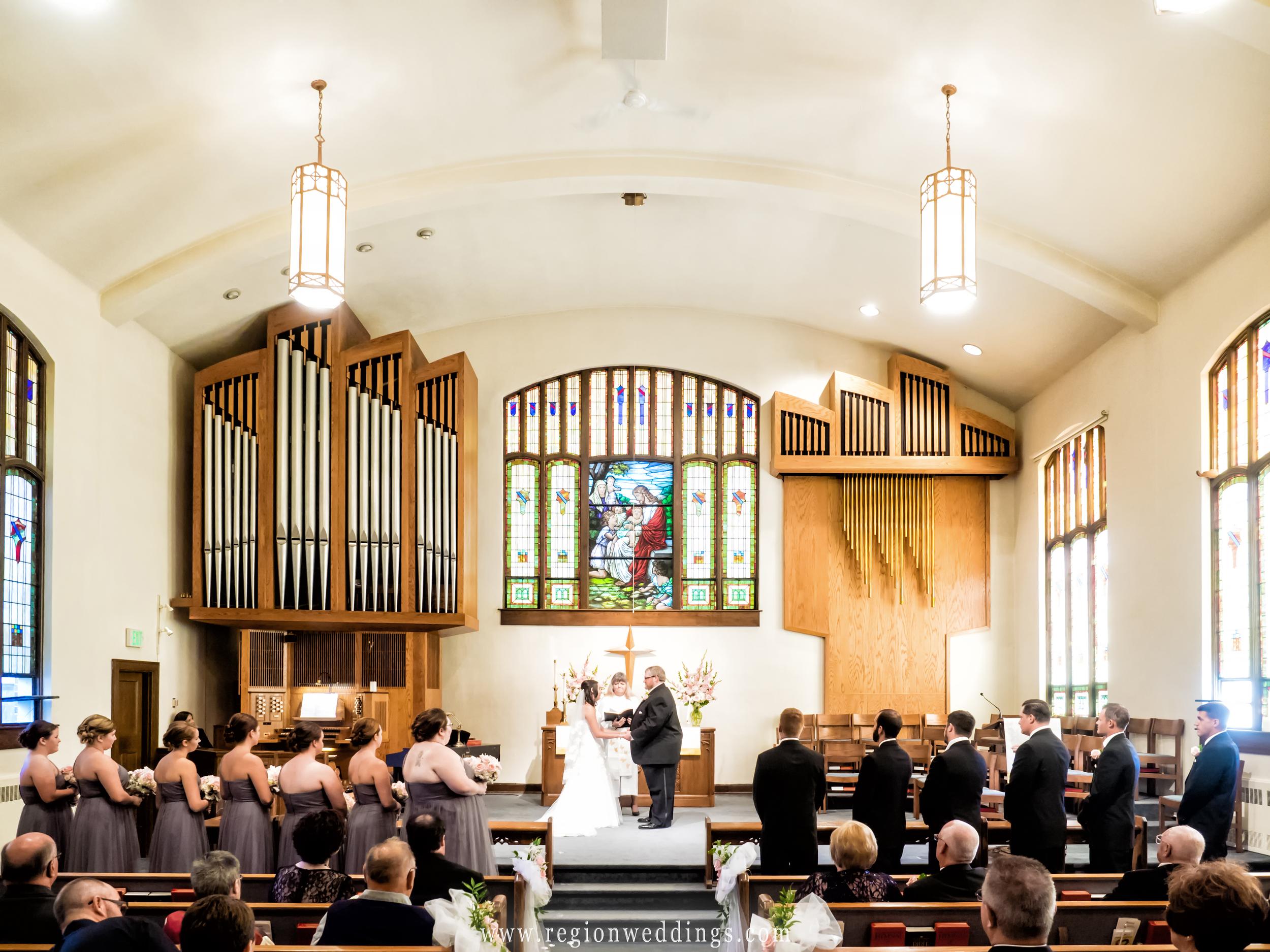Wedding ceremony at Chesterton United Methodist Church.