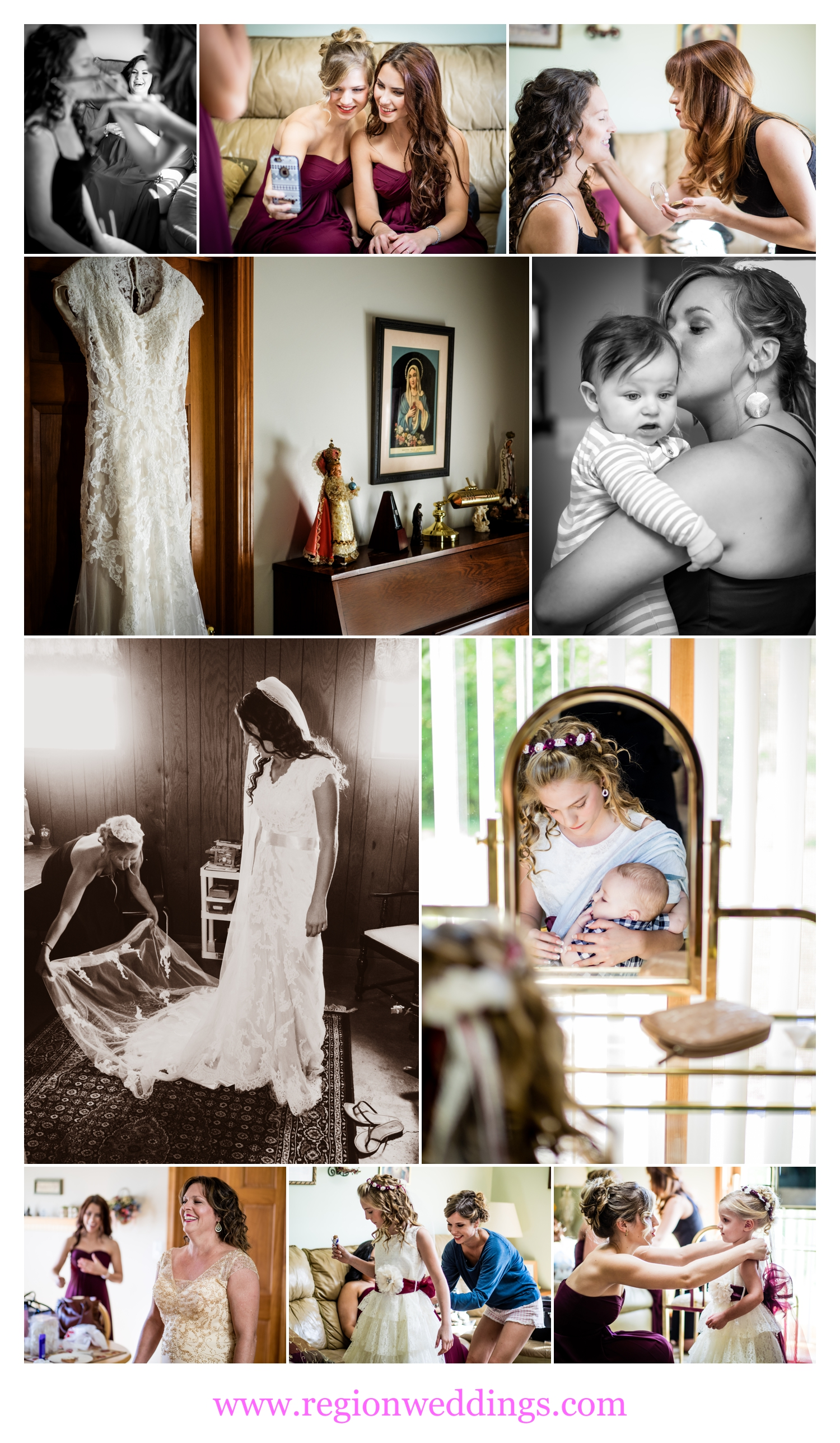 Bridal prep in Chesterton, Indiana.