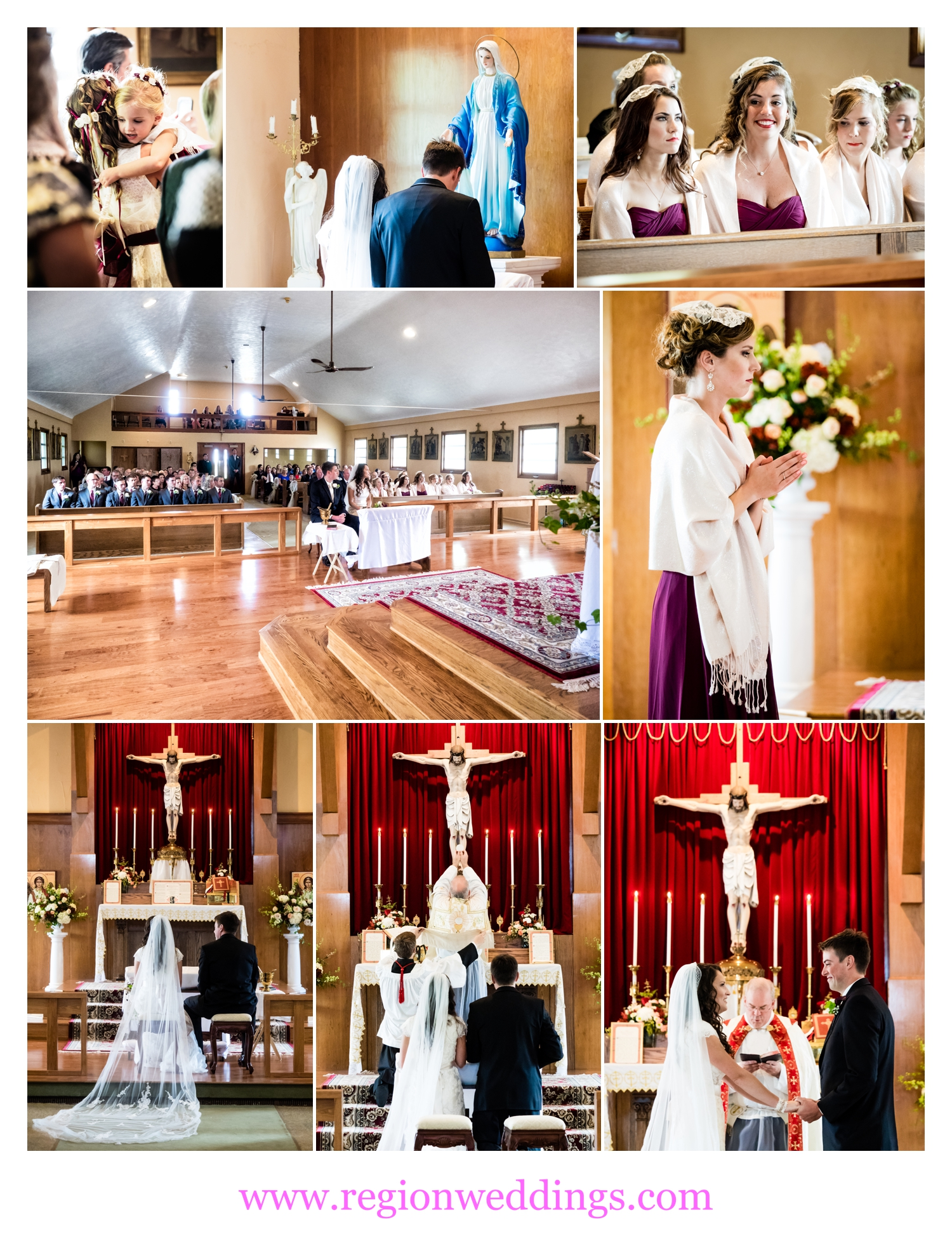 Catholic wedding ceremony in Kingsford Heights, Indiana.