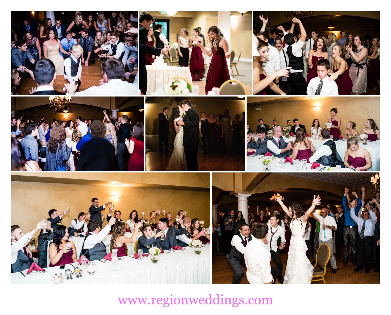 Wedding reception fun at Trinity Hall in Chesterton, Indiana.