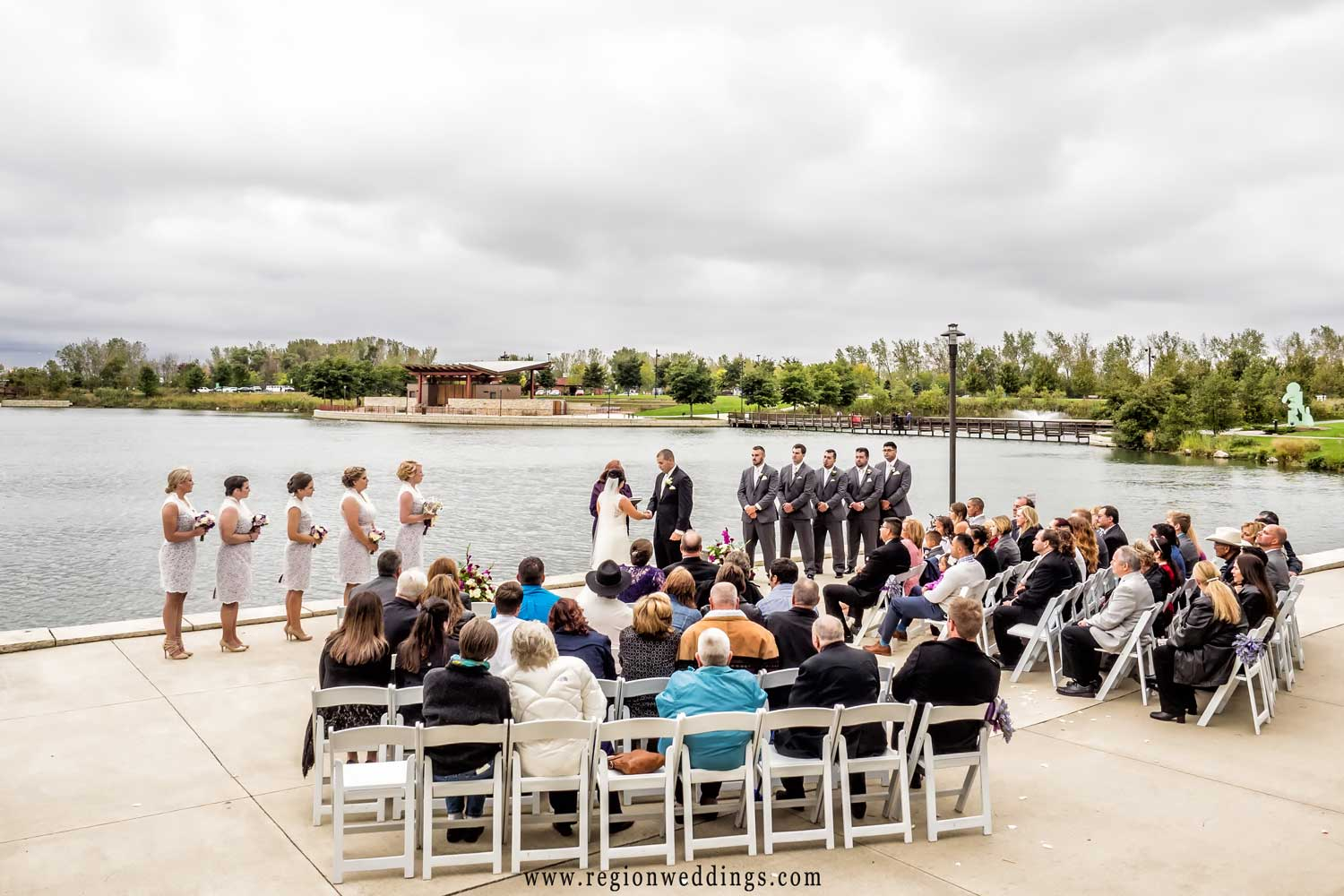 Outdoor wedding ceremony on the terrace at Centennial Park in Munster, Indiana.