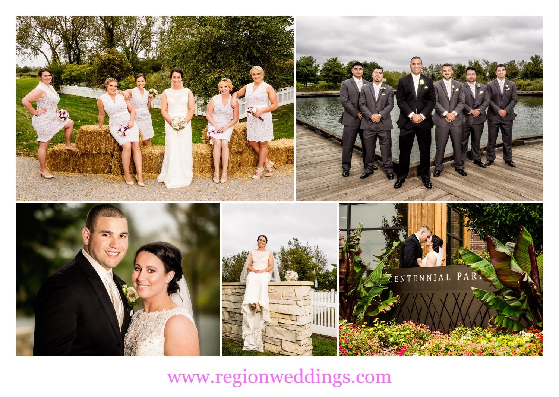 Wedding photos at Centennial Park in Munster, Indiana.