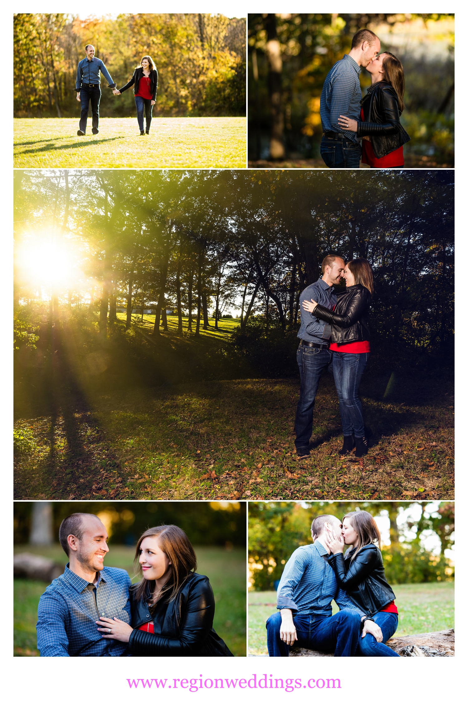 A Fall engagement session in the woods of Crown Point, Indiana.