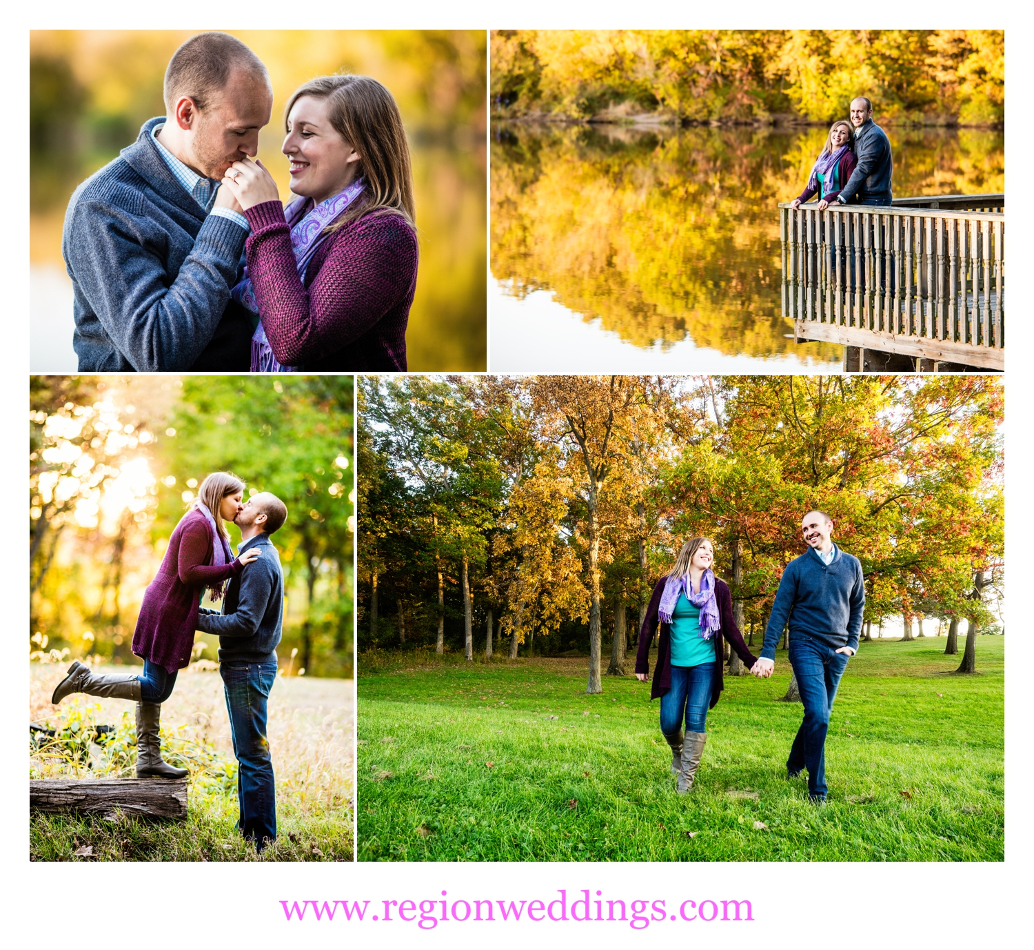 Fall color engagement photo collage.
