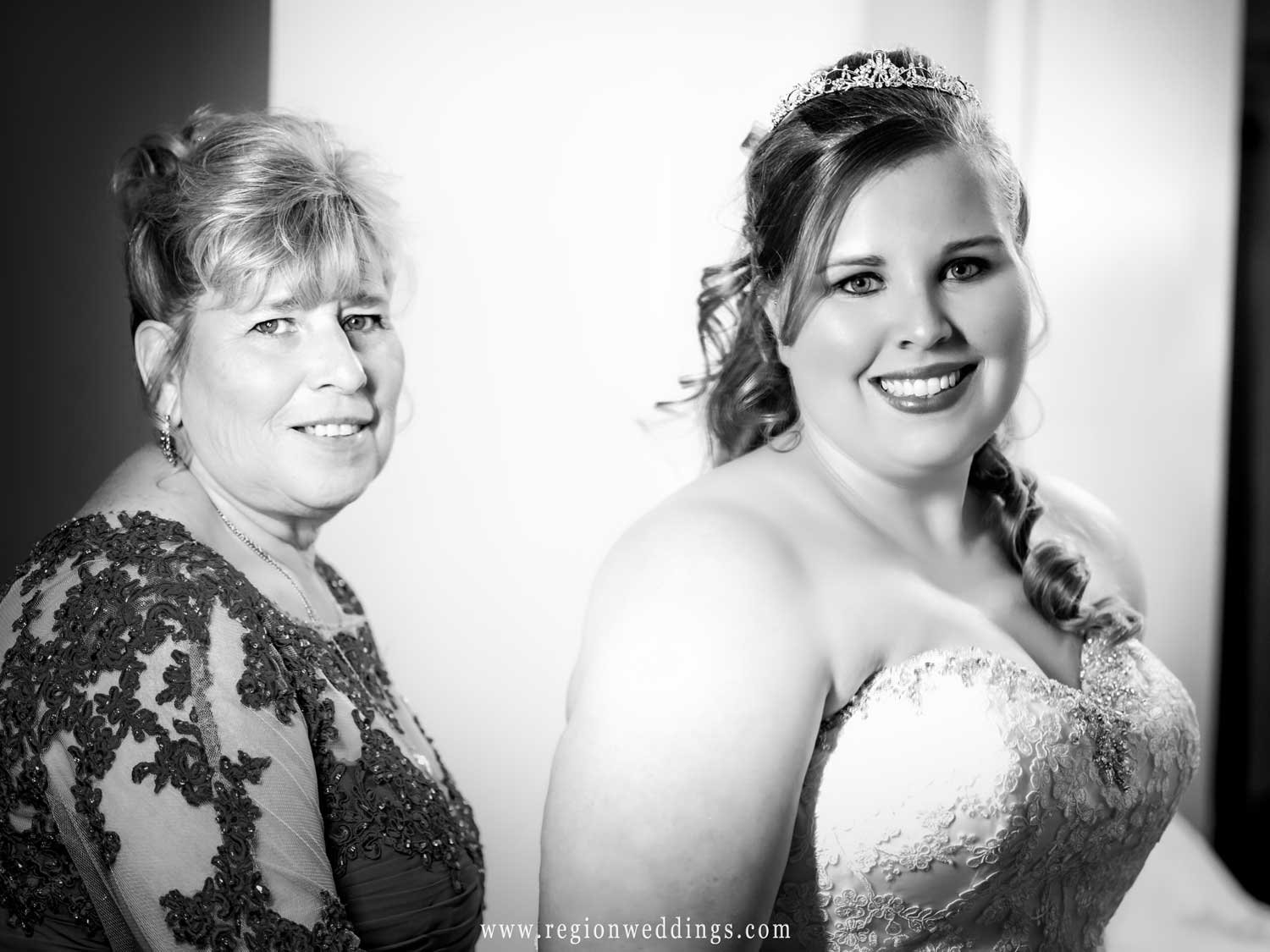 Mom and daughter on wedding day.