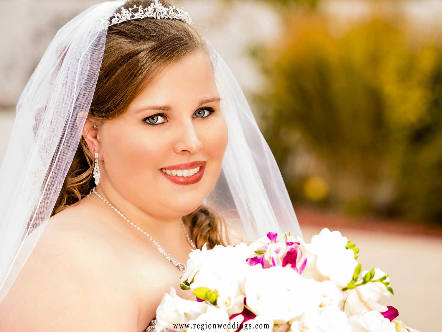 The bride just before her Fall wedding ceremony.