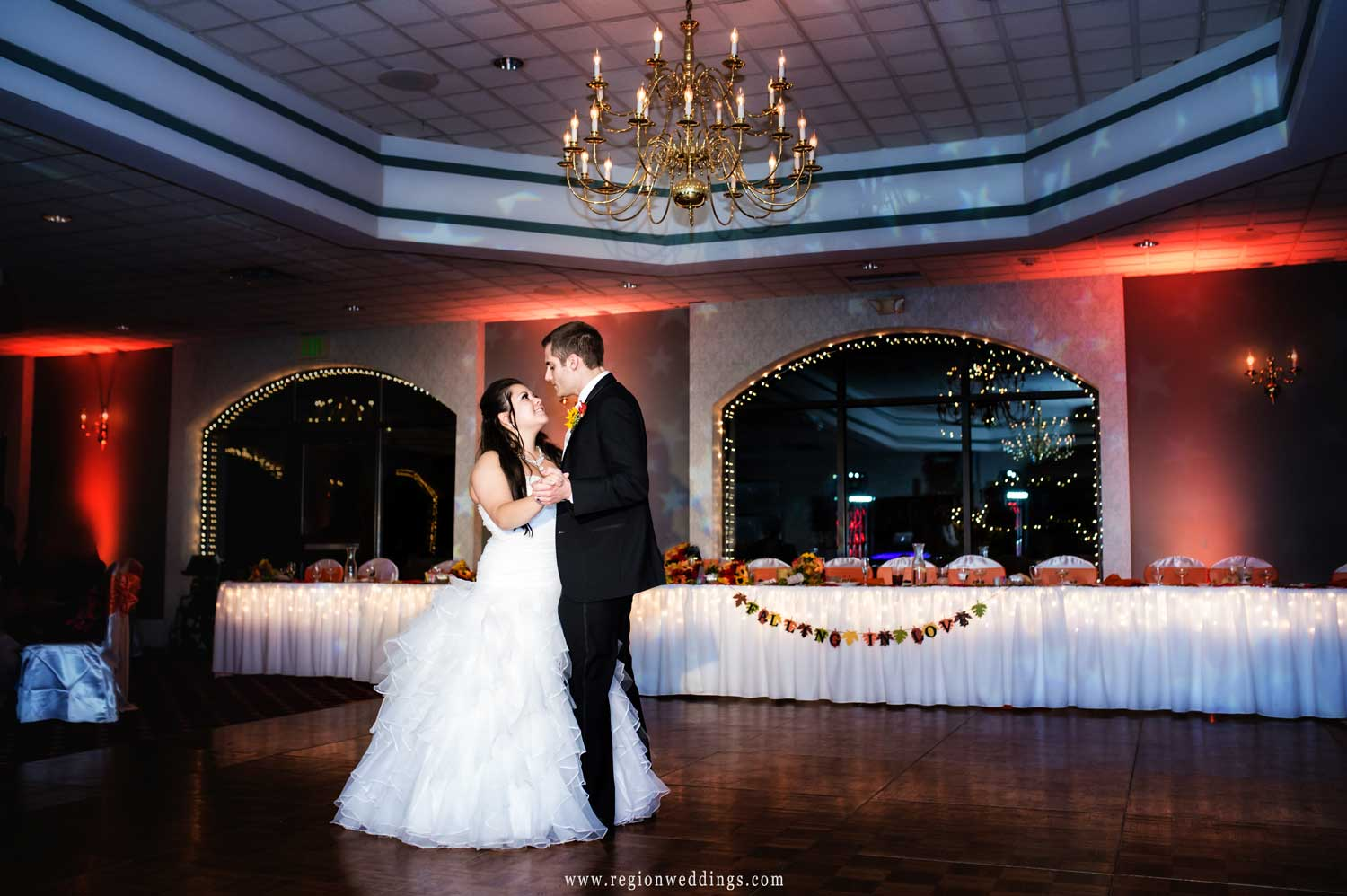 First dance for the bride and groom at Cloister In The Woods reception venue.