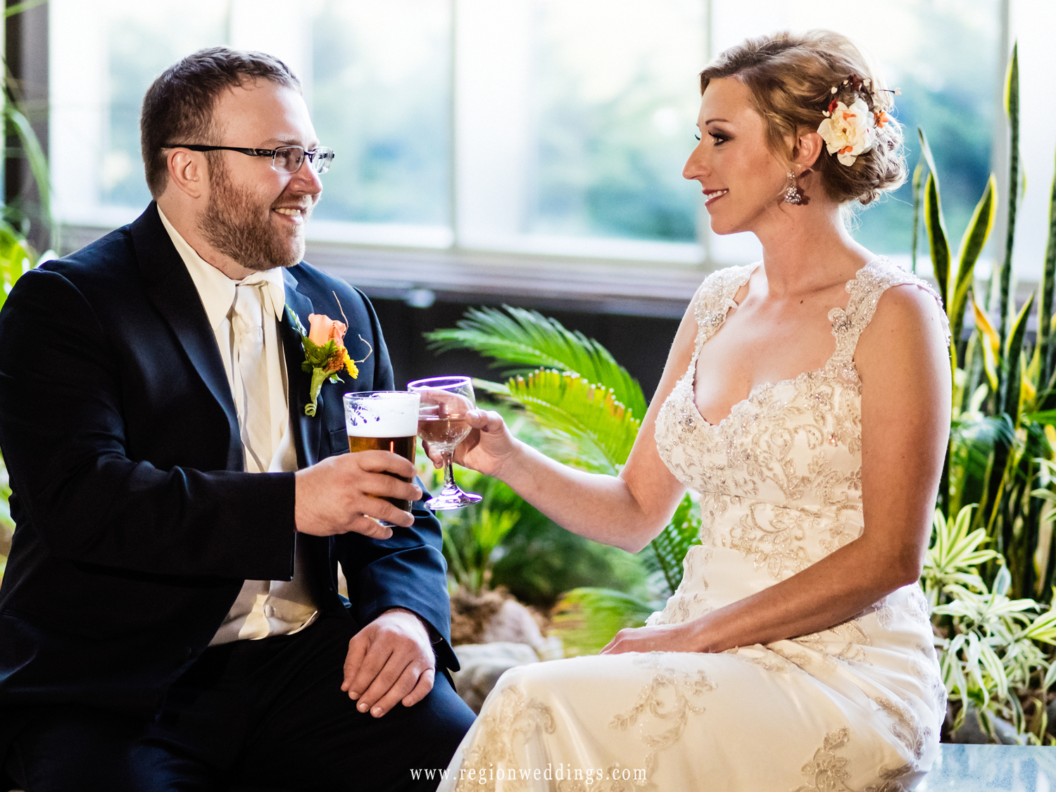 A toast on wedding day for the bride and groom.