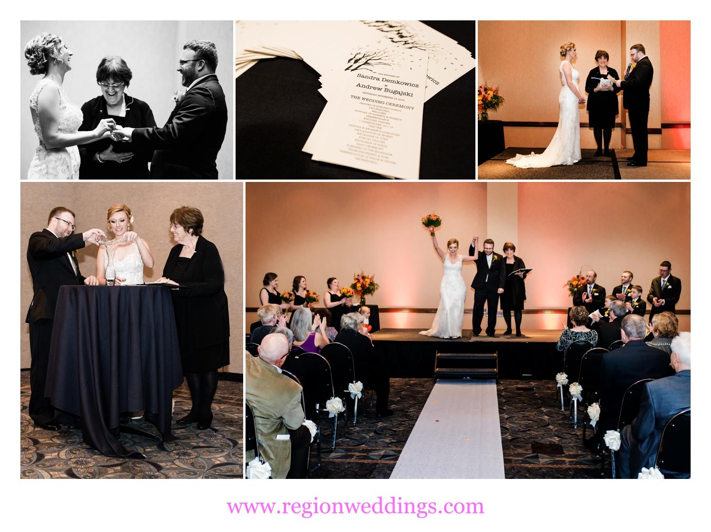 Fall wedding ceremony inside Radisson ballroom.