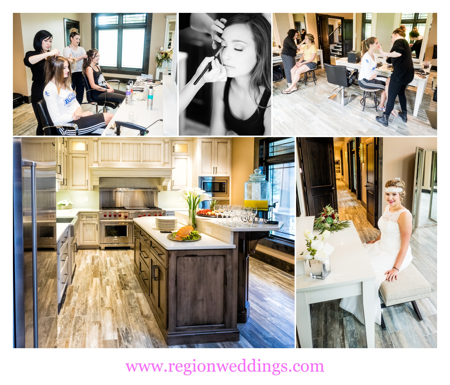 Stylists from LeRoc Salon do bridal prep inside the new bridal suite at Sandy Pines.