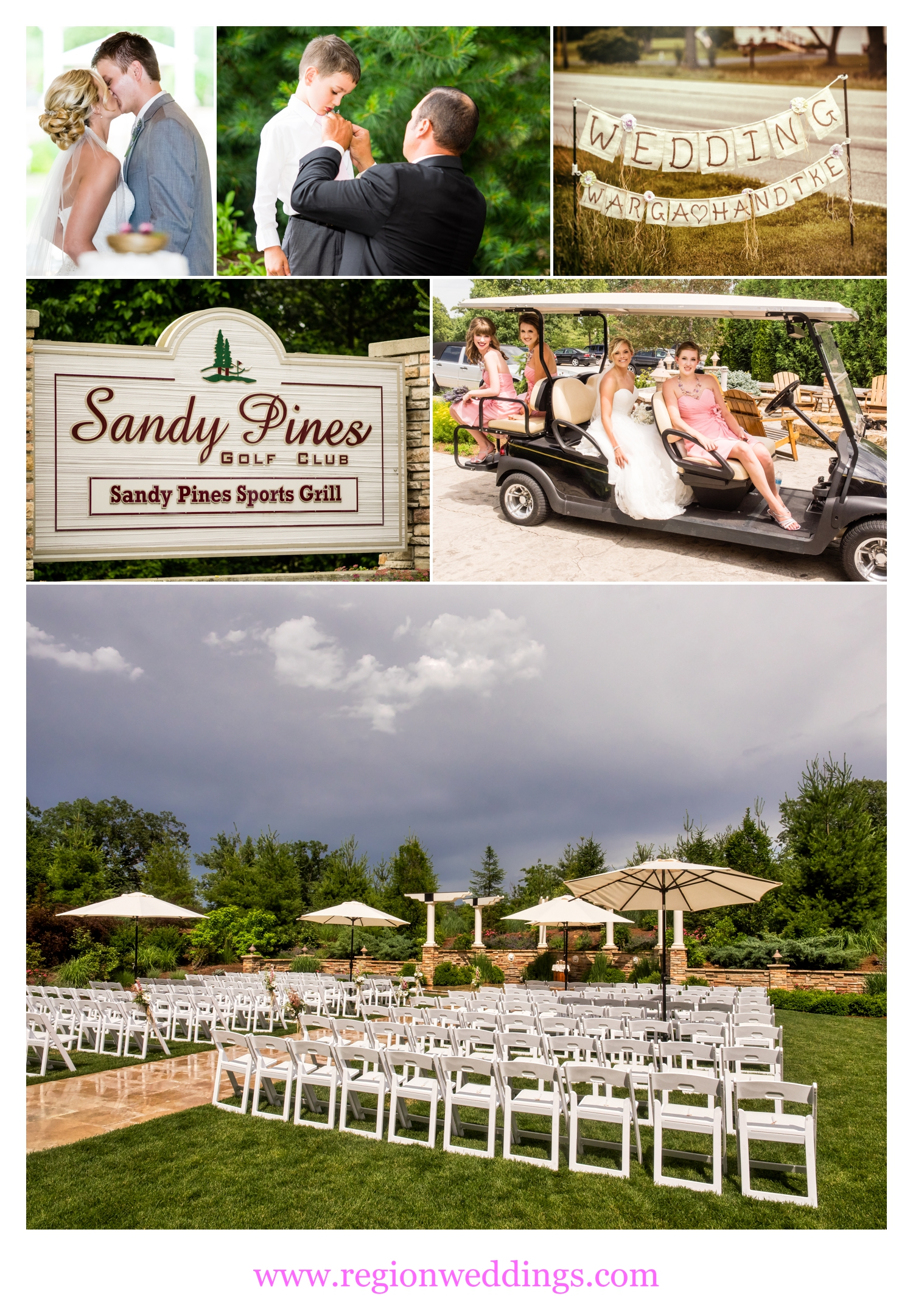 Outdoor wedding ceremony at Sandy Pines Pavilion.