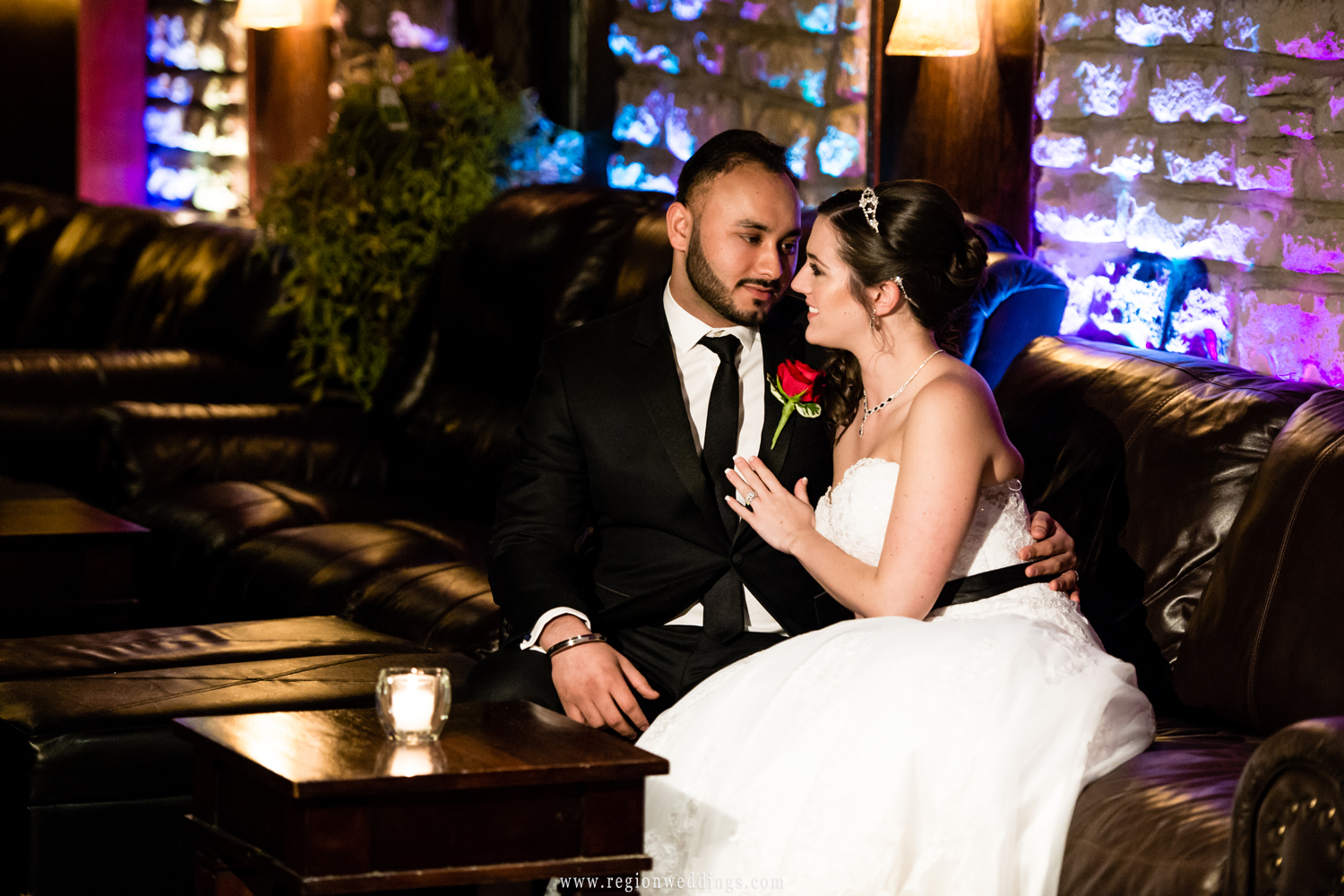 Bride and groom in the Meyer's Castle lounge.